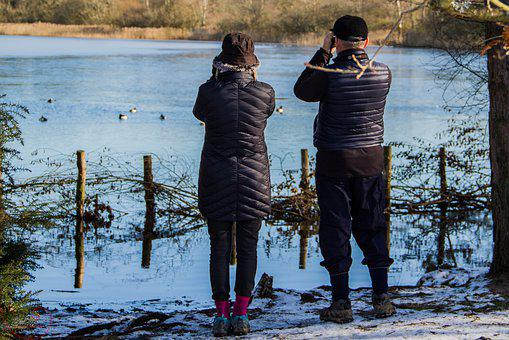 People, Watching, Twitcher, Water, Lake, Ice, Cold