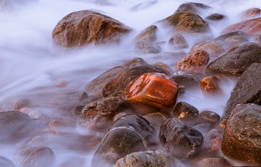 Seashore, Beach, Stones, Rocks, Nature, Waves, Seaside