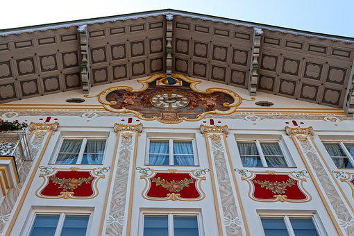 Facade, House, Lüftlmalerei, Clock, Architecture