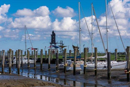 Port, Wadden Sea, Sailing Boat, Lighthouse, Ebb