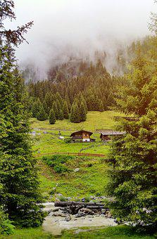 Mountains, Meadow, House, Cottage, Wooden, Landscape
