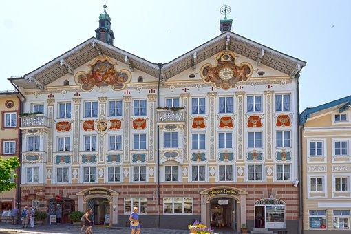 Facade, House, Ensemble, Lüftlmalerei, Clock