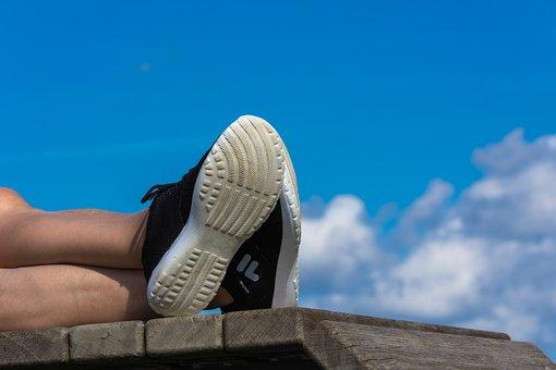 Shoes, Sneakers, Legs, Feet, Rest, Liège, Woman, Sport