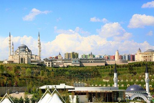Cami, Minaret, Dome, Landscape, Architecture, Sky