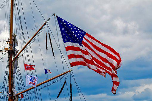 Flag, Usa, Boat, Independence, Stars, Bands, America