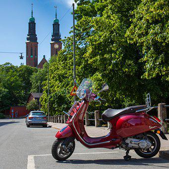 Vespa, Street, Stockholm, South, Towers, Church
