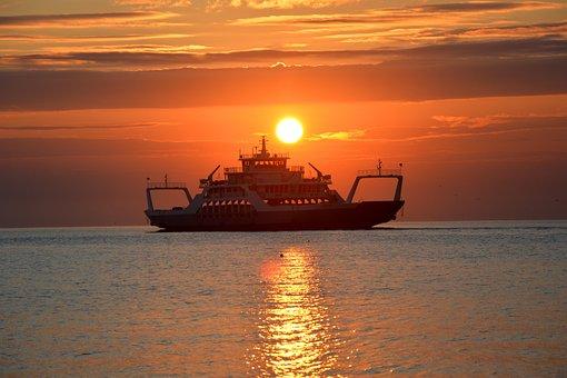 Ferry, Sunrise, Dawn, Sun, Strait, Kerch, Crimea