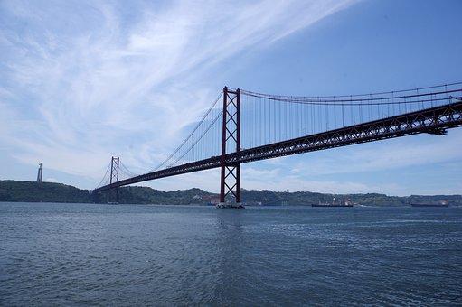 Bridge, Port, Lisbon, Portugal, Suspension Bridge, Tejo