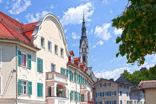 Houses, Facades, Church, Old, Tower, Architecture