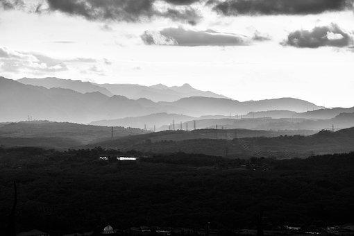 Bw, Blackwhite, Landscape, View, Curves, Nature, Hills