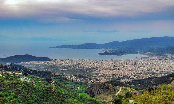 Greece, Volos, Town, View, Landscape, Panorama, Scenery