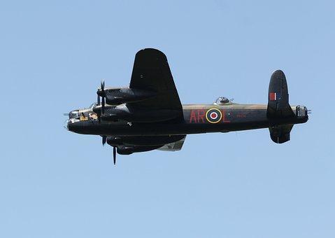 Lancaster, Bomber, Airplane, Raf, Flying, Warplane