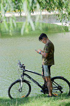 Boy, Young, Man, Male, The Person, Bike, Lake, Nature