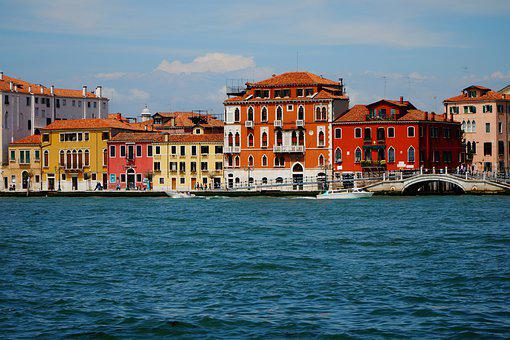 Venice, Guidecca, Italy, Old, Canal, Color, Colorful