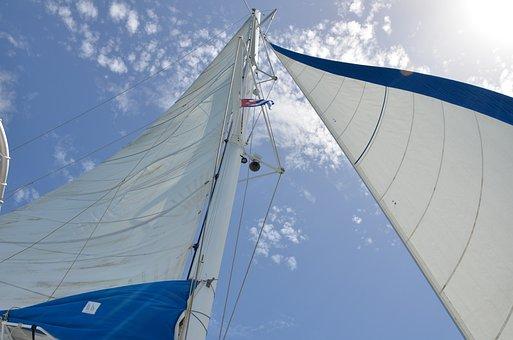 Sailboat, Sail, Sea, Caribbean, Sun, Sky, Cuba, Flag