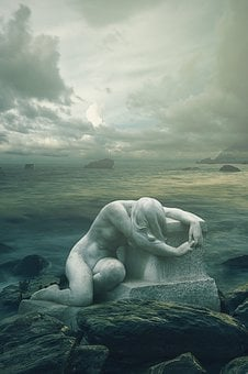 Statue, Sea, Dark, Fantasy, Gothic, Loneliness, Sadness