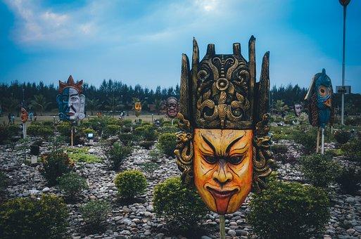 Mask, Garden, Sky, Face, Decoration, Ceramic, Weird