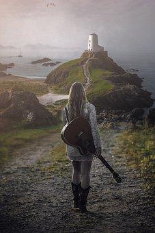 Guitar, Female, Woman, Girl, Model, Musician, Music