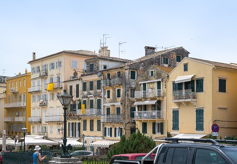 Tight, Town, Old, House, City, Greece, Greek, Corfu
