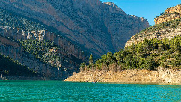 Mountain, Lake, Water, Landscape, Nature, Canoes