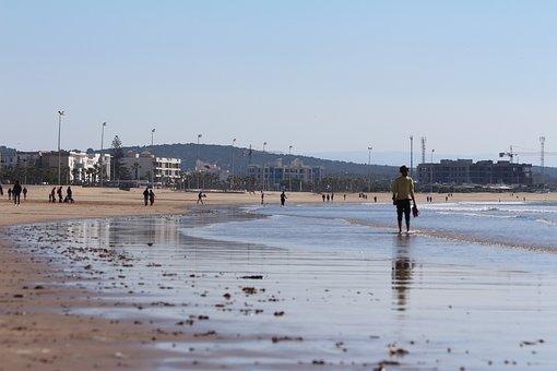 Man, Walker, Walk, Water, Sea, Ocean, Riva, Shore