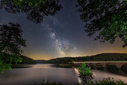 Milky Way, Lake, Starry Sky, Star, Night, Sky