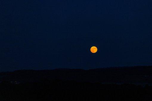 Moon, Night, Red, Moonrise, Dark, Scene, Mystical