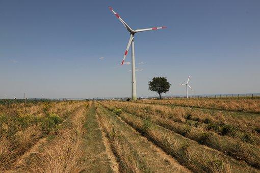Wind Turbine, Tree, Field, Sky, Away, Clouds, Panorama