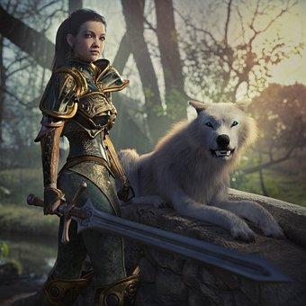 Fantasy, Warrior, Female, Wolf, White, Woman, Sword