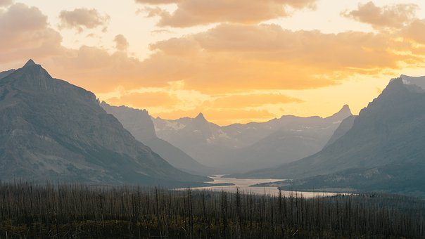 Montana, Glacier, Sunset, Landscape, Scenic, Water