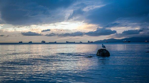 Sunset, Vancouver, Canada, Water, Ocean, Sky, Sea