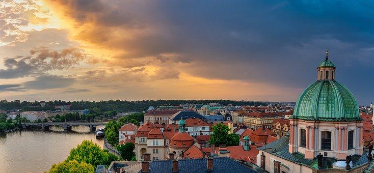 Prague, Sky, City, Architecture, Czech, Church, River