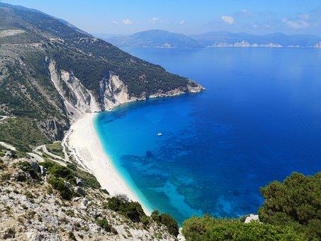 Kefalonia, Myrtos, Beach, Greece, Azure, Coastline, Bay