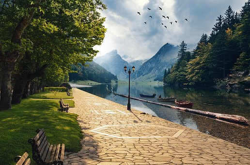 Landscape, Mountains, Boats, Log, Park, Bench, Heron