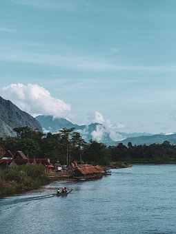 Blue Sky, Limestone Mountains, Mountains, River, Boats