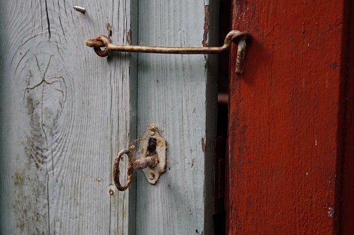 Door, Locked, Bolt, Closed, Wooden Door, Woods, Key