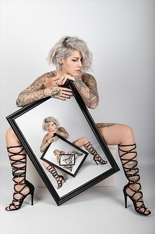 Woman, Tattoos, Boots, Picture Frame, Frame, Sexy