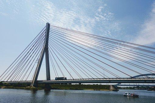 Bridge, Architecture, Water, River, City, Gdańsk