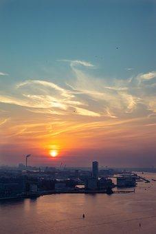 Cityscape, Sunset, Urban, Harbor, Panorama, City