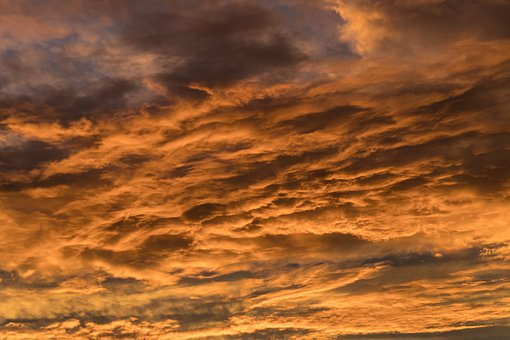 Sunset, Sky, Clouds, Orange, Grey, Cloudscape, Weather