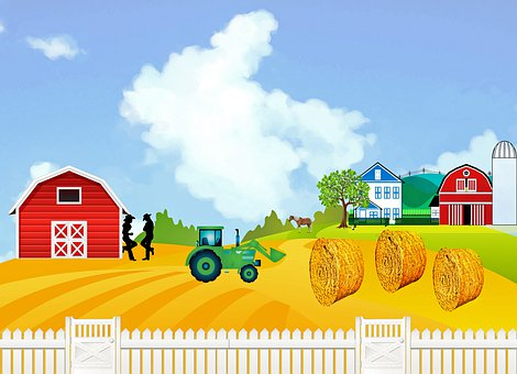 Farm, Barn, House, Hay, Tractor, White Fence, Rural