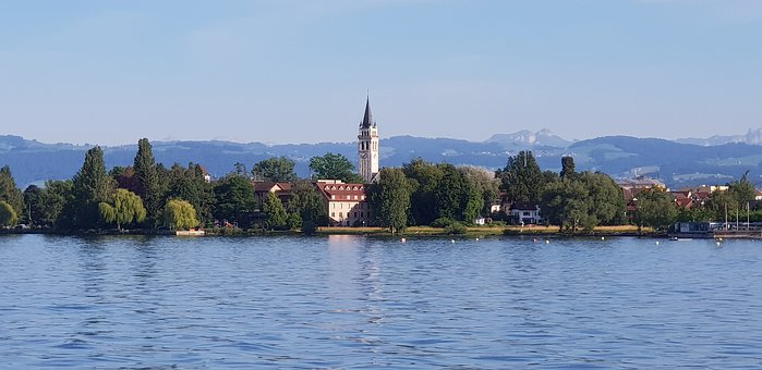 Church, Landscape, Lake Constance, Trees, Houses