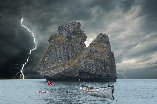 Lighting, Ocean, Boat, Storm, Dark Clouds, Rock