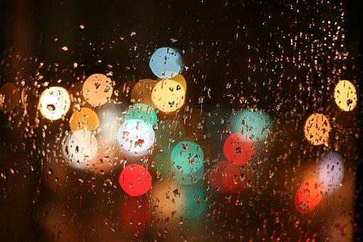 Lights, Rain, Window, Night, Wet, Drops, City