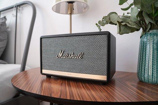 Bluetooth, Speakers, Bedroom, Music, Box, Table