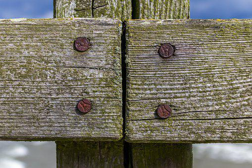 Wood, Boards, Old, Nails, Rusty, Fence, Weave, Green