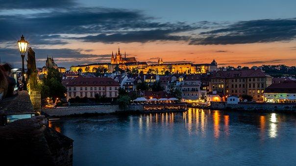 Prague, Sunset, Panorama, River, Travel, Night, Gothic