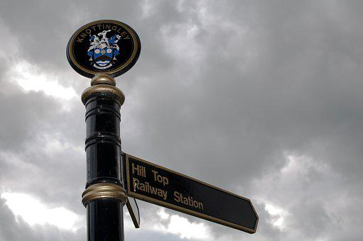 Knottingley, Sign, Street, Sky, Directions, Railway