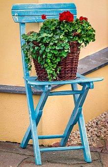 Chair, Flower, Basket, Red, Green, Blue, Orange, Brown