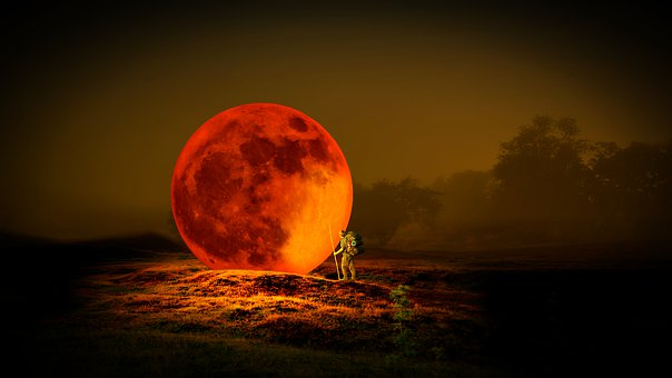 Moon, Space, Planet, Red, Universe, Sky, Landscape, Man